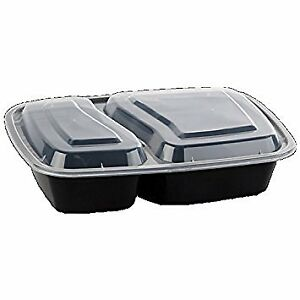Safepro 32 Oz Black 2 compartment Microwavable Container With Lid 50