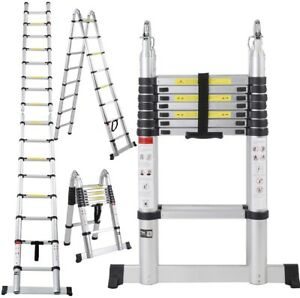 12 5ft Aluminium Multi purpose Telescopic Ladder Extension Foldable Steps En131