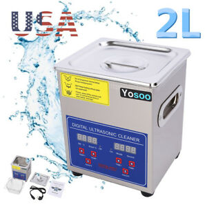New 2l Stainless Steel Industry Heated Ultrasonic Cleaner Heater Timer Ac110v