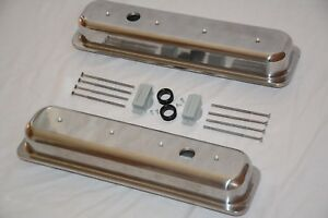 Polished Aluminum Chevy Center Bolt Short Valve Covers 5 0 5 7l 305 350 Sbc