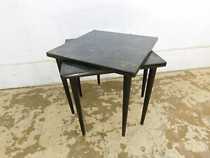 Vintage 1960s Mid Century Modern Square Nesting Stack Tables Cone Legs