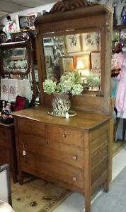 Antique Ornate Oak Dresser Curved Front With Mirror Original Hardware