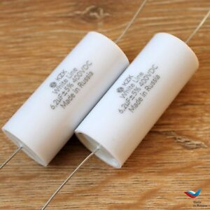Kzk White Line 2pc 6 2uf 400v 5 Audiophile Grade Capacitor For Diy Speaker Kits