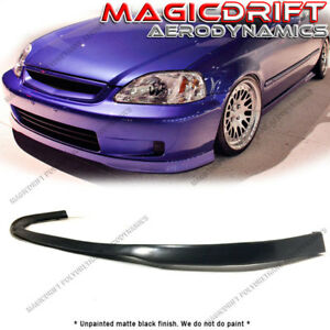 For 99 00 Honda Civic Ek Sir Style Ctr Flexible Front Bumper Lip Spoiler Pu