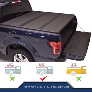 New Tri Fold Hard Solid Tonneau Cover For 99 17 F250 F350 Superduty 6 5ft Bed