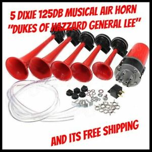 5 Dixie 125db Musical Dukes Of Hazzard General Lee 12v Air Horns Car Boats Track