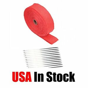 2 X 50ft Roll Red Exhaust Wrap Manifold Header Pipe Heat Wrap Tape 10 Ties Kit