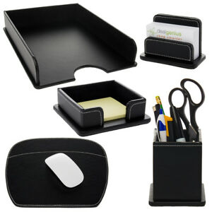 5pc Leatherette Office Desk Organizer Set Tray Mousepad Card Note