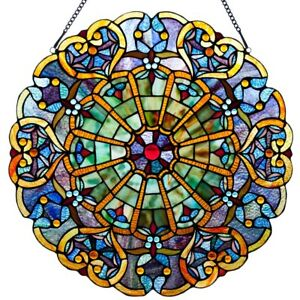 Victorian Style Stained Glass Panel 23 Inch High Webbed Heart Decorative Window