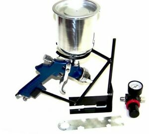 Air Paint Spray Gun Hvlp Gravity Feed 1 4 Tip Aluminum Cup Holder Regulator