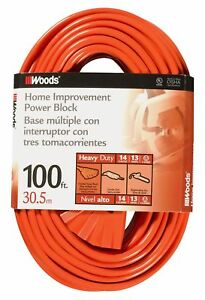 Woods 0827 14 3 Outdoor Multi outlet Extension Cord 100 foot Orange