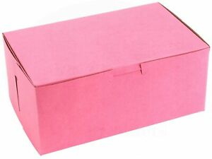Pink Bakery Box 8 In X 5 In X 3 1 2 In Clay coated Non window 15 Pieces