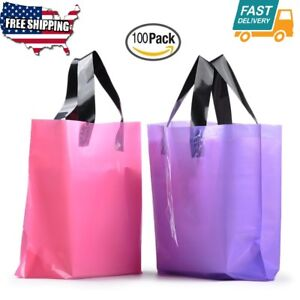 100pcs Pack Frosted Plastic Gift Bag With Handles Large Merchandise Size 2 Color