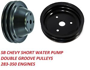 Sbc Pulley Set Double Groove Swp 283 350 Steel Black Finish Set Upper Lower