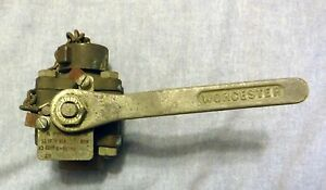 Vintage Worchester Brass Ball Valve Type P 398 s 1 2 600 Psi Used Us Military