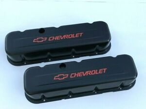 Chevrolet Bbc Black Steel Tall Valve Covers W Red Logo 65 95 396 454