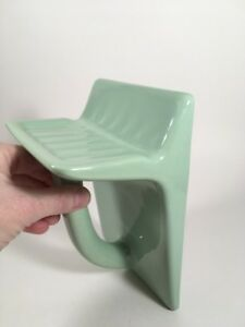 Vintage Wall Mount Soap Dish W Towel Grab Bar Jade Green Ceramic Art Deco Rare