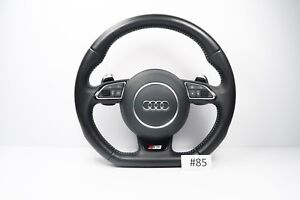 Audi S Line Flat Bottom Perforated Leather Steering Wheel With Airbag A3 S3 85