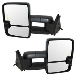 New Set Power Tow Side Mirror W Chrome Blazer Tahoe Suburban Yukon Pickup