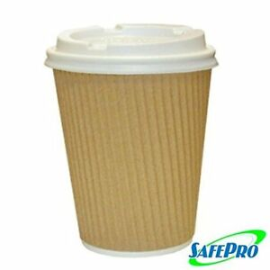 12 Oz Kraft Ripple Paper Hot Coffee Cups With Cappuccino Lids 100