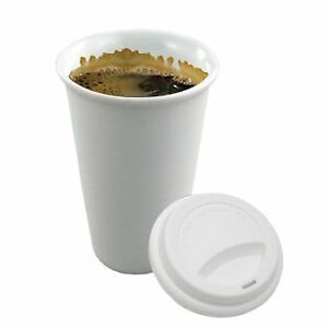 10 Oz White Paper Coffee Cups hot Cups With Cappuccino Lids 200 Pcs