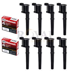Set Of 8 Ignition Coils Motorcraft Spark Plugs Sp493 For Ford Lincoln Mercury