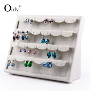Cream white Linen Jewelry Exhibitor Earrings Display Stand For Show Ear Nails