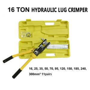 16 Ton Hydraulic Wire Cable Terminal Crimper Crimping Tool Pliers Set W 11 Dies