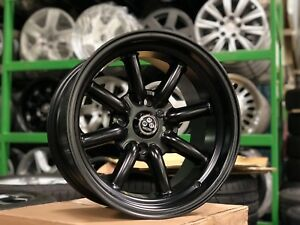 New 15x8 Inch Watanabe Classic Design Wheel Set Of 4 Matt Black 4x114 3 Et 5