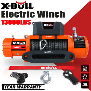 X bull 12v 13000lbs Electric Winch Synthetic Rope Jeep Ip67 Trailer Towing Truck
