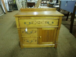 Antique Spoon Carved Cherry Washstand Loop And Pin Drawers