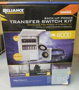 New Reliance Back up Power Transfer Switch Kit 306lrk 6 Circuit 3000 Watt