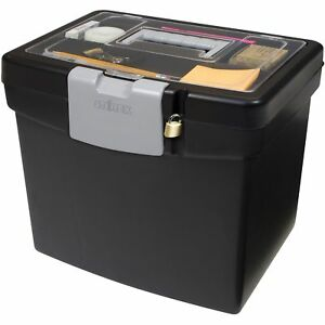 Black Portable File Box With Storage Lid Home Office Lockable Organizer Holder