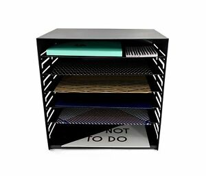 Blu Monaco 6 Tier Vertical Trays Document File Holder Office Desktop Sorter