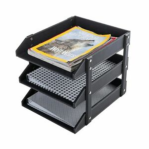 3 Tier Leatherette Desktop Document Organizer Trays File Folder Storage Rack