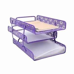 Crystallove Purple Metal Hollow 3 tier Document Tray Magazine Frame Paper Fil