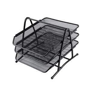 Heavy Duty Metal 3 Tier Desktop Document Letter Tray Paper File Book Magazine