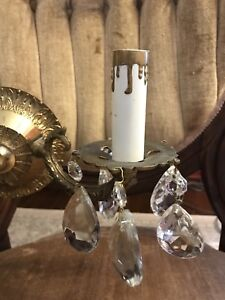 Antique Brass Wall Sconce Pair