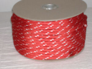 Double Braid Polyester 3 8 x 300 Feet Yacht Braid Halyard Line Red White Tracers