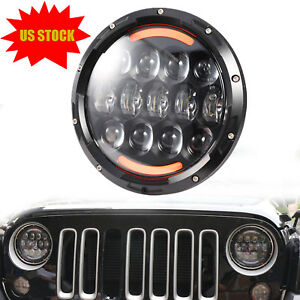 7 Osram 105w Round Led Headlight Hi lo Beam Bulb For Jeep Wrangler Jk Tj Black