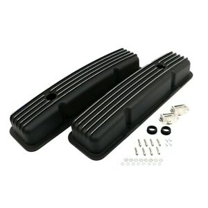 58 86 Sbc Chevy 350 Finned Black Polished Fins Aluminum Short Style Valve Covers