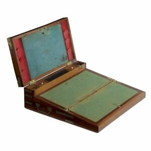 English George Iii Brass Bound Mahogany Captains Box Writing Slope Desk C 1800