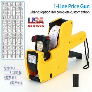 New Mx 5500 8 Digits Eos Price Tag Gun 50 White W Red Lines Labels 1 Ink