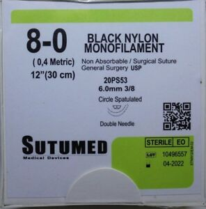 Sutumed Black Nylon Monofilament 8 0 3 8 6 0mm Double Armed Suture
