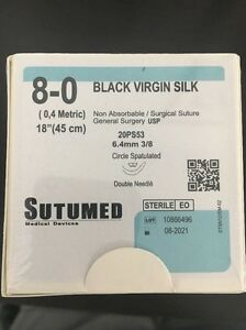 Sutumed Black Virgin Silk 8 0 3 8 6 4mm Double Armed Surgical Suture