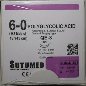Sutumed Polyglycolid Acid 6 0 1 4 8mm Double Armed Surgical Suture