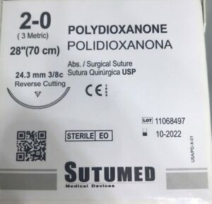 Sutumed Polydioxanone 2 0 3 8 24 3mm Reverse Cutting Surgical Suture