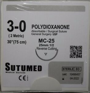 Sutumed Polydioxanone 3 0 1 2 25mm Reverse Cutting Surgical Suture