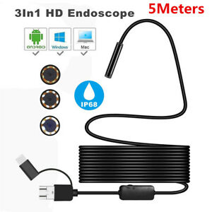 5m 8 Led 8mm Android Endoscope Waterproof Snake Borescope Usb Inspection Camera