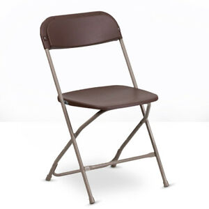 10 Plastic Folding Chairs Brown Stackable Party Event Chair Commercial Quality